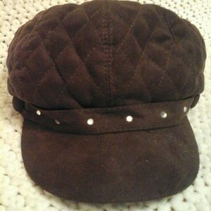 Brown Quilted Hat with Rhinestones